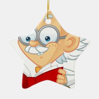 Dibujo animado adorno navideño de cerámica en forma de estrella