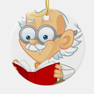 Dibujo animado adorno navideño redondo de cerámica