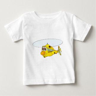 Dibujo animado amarillo del helicóptero camiseta de bebé