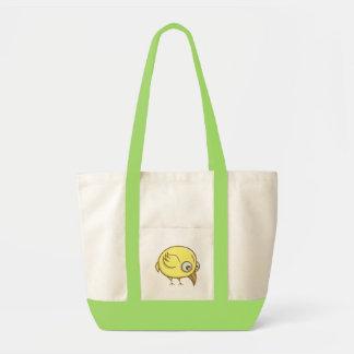 Dibujo animado amarillo del pájaro bolso de tela