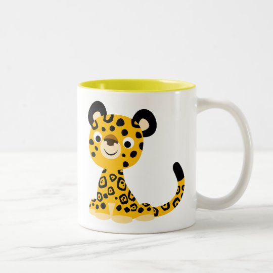 Dibujo animado amistoso lindo Jaguar Taza De Café De Dos Colores