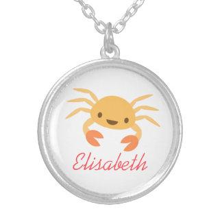 Dibujo animado animal del cangrejo lindo del kawai colgante redondo
