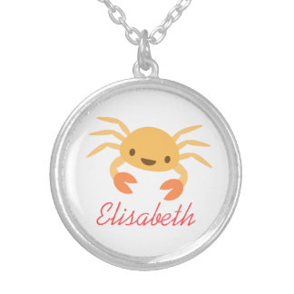 Dibujo animado animal del cangrejo lindo del kawai collar plateado