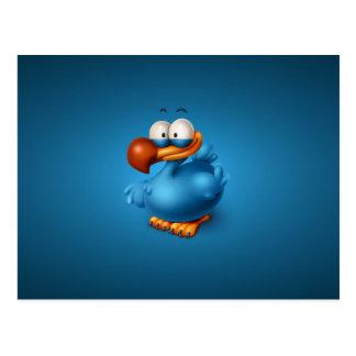 Dibujo animado azul del Minimalist del pájaro Postal