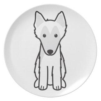 Dibujo animado belga del perro del perro pastor plato de comida