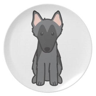 Dibujo animado belga del perro del perro pastor plato