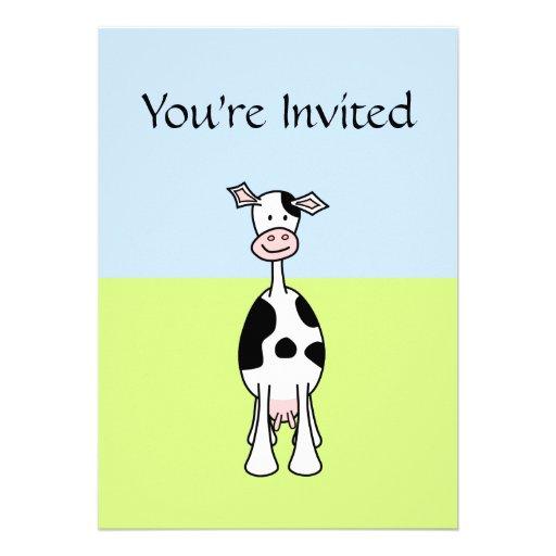 Dibujo animado blanco y negro de la vaca. Frente Comunicados