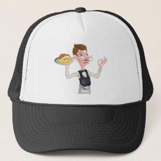 Dibujo animado camarero perfecto de Kebab y de los Gorra De Camionero