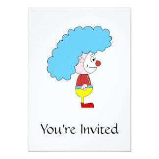Dibujo animado colorido del payaso. Pelo azul Invitación 12,7 X 17,8 Cm