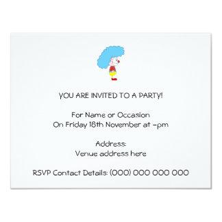 Dibujo animado colorido del payaso. Pelo azul Invitación 10,8 X 13,9 Cm
