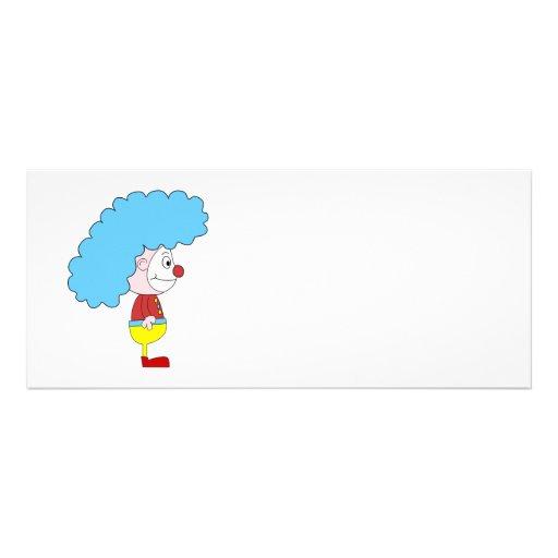 Dibujo animado colorido del payaso. Pelo azul Invitación Personalizada