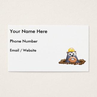Dibujo animado de excavación del topo lindo tarjeta de negocios