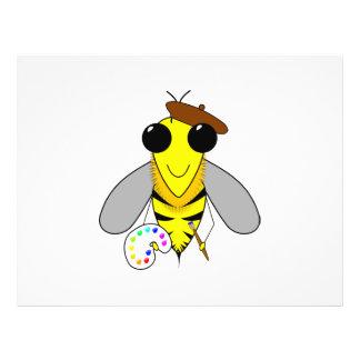 Dibujo animado de la abeja del artista tarjetón
