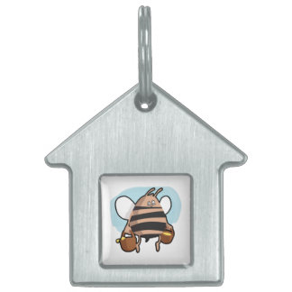 Dibujo animado de la abeja placa para mascotas
