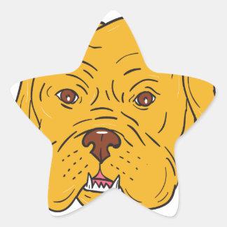 Dibujo animado de la cabeza de perro de Burdeos Pegatina En Forma De Estrella