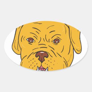 Dibujo animado de la cabeza de perro de Burdeos Pegatina Ovalada
