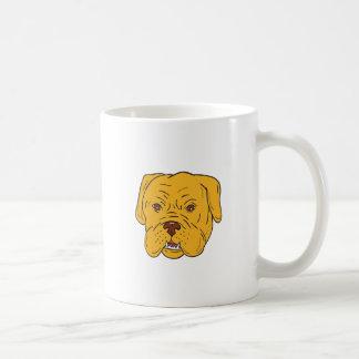 Dibujo animado de la cabeza de perro de Burdeos Taza De Café