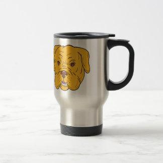 Dibujo animado de la cabeza de perro de Burdeos Taza De Viaje