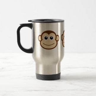 Dibujo animado de la cara del mono taza de viaje