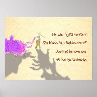 Dibujo animado de la cita de Nietzsche él que luch Póster