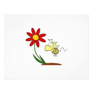 Dibujo animado de la flor y de la abeja tarjetones
