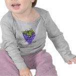 Dibujo animado de la fruta - uvas camisetas