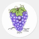 Dibujo animado de la fruta - uvas pegatina redonda