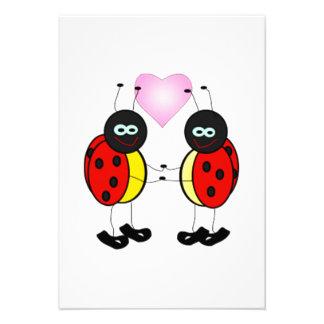 Dibujo animado de la mariquita del insecto del amo invitaciones personalizada