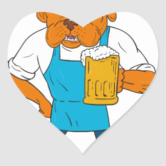 Dibujo animado de la mascota de la taza del pegatina en forma de corazón