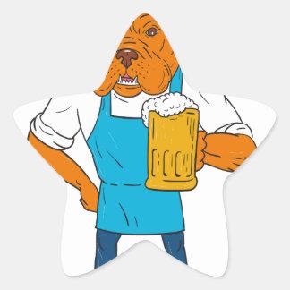 Dibujo animado de la mascota de la taza del pegatina en forma de estrella