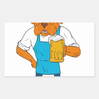 Dibujo animado de la mascota de la taza del pegatina rectangular