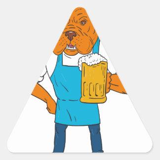 Dibujo animado de la mascota de la taza del pegatina triangular