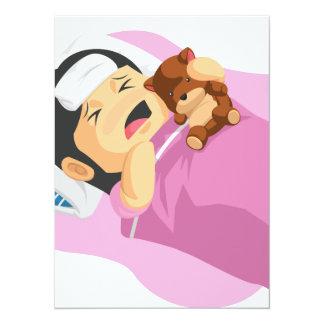 Dibujo animado de la niña que tiene una fiebre invitación 13,9 x 19,0 cm
