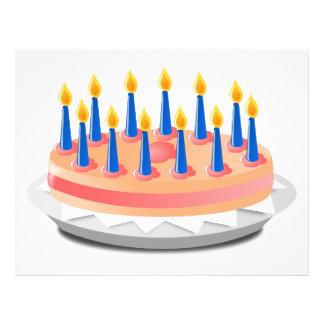 Dibujo animado de la torta de cumpleaños tarjetón