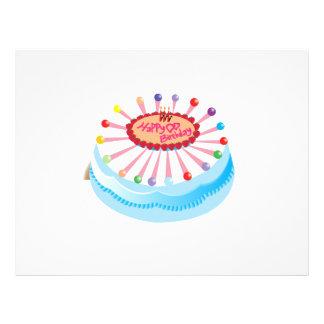 Dibujo animado de la torta de cumpleaños folleto 21,6 x 28 cm