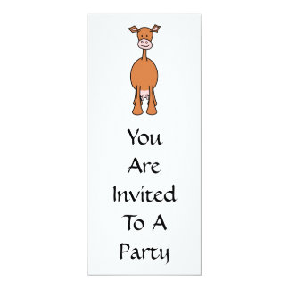 Dibujo animado de la vaca de Brown. Frente Invitación 10,1 X 23,5 Cm