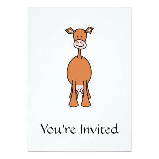 Dibujo animado de la vaca de Brown. Frente Invitación 12,7 X 17,8 Cm