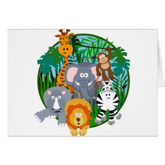 Dibujo animado de los animales del safari tarjeton