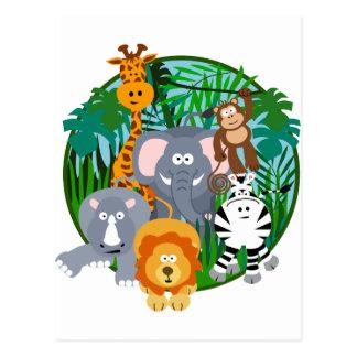 Dibujo animado de los animales del safari postal