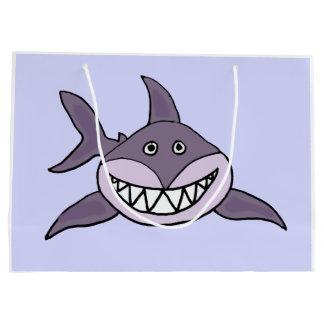 Dibujo animado de mueca gris divertido del tiburón bolsa de regalo grande