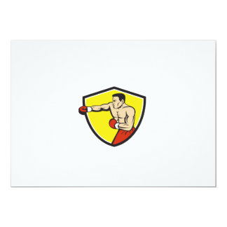 Dibujo animado de perforación Jabbing del escudo Invitación 12,7 X 17,8 Cm