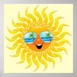 Dibujo animado de Sun del verano con el poster de