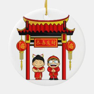 Dibujo animado del Año Nuevo chino de saludo del m Adorno De Reyes