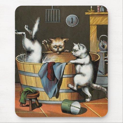 Tinas De Baño Vintage:Dibujo animado del baño del gatito del vintage que alfombrilla de