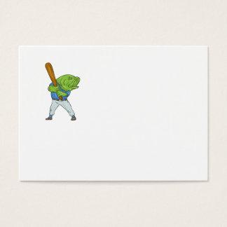 Dibujo animado del bateo del jugador de béisbol de tarjeta de visita