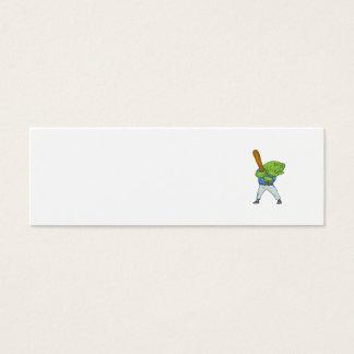 Dibujo animado del bateo del jugador de béisbol de tarjeta de visita mini