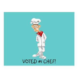 Dibujo animado del cocinero con refranes postal