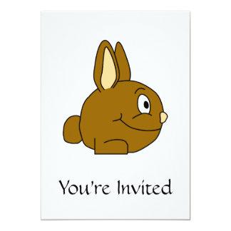 Dibujo animado del conejo de Brown Invitación 12,7 X 17,8 Cm