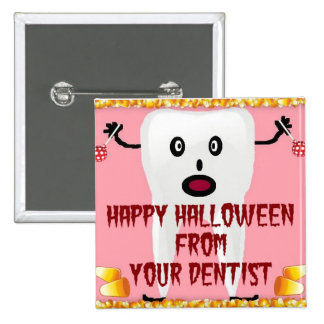 Dibujo animado del dentista de Halloween Pins