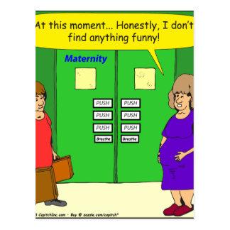 dibujo animado del empuje de la sala de maternidad postal